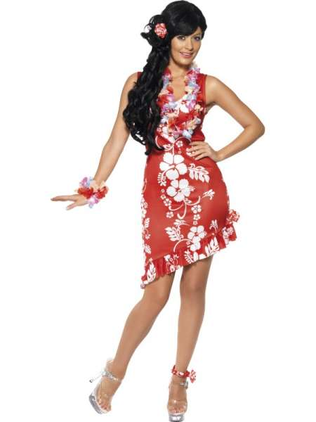 Hawaii-Kleid, rot-weiss | atop ag