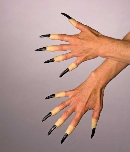 Fingernägel aus Latex, lang, schwarz