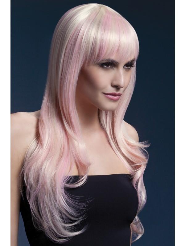 Damenperücke Lang Sienna Blond Mit Rosa Strähnen