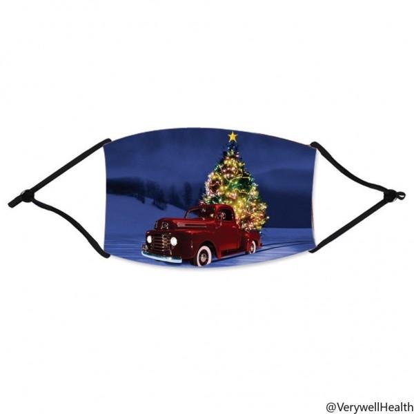 Stoffmaske 50er Pickup mit Weihnachtsbaum, mit Filter