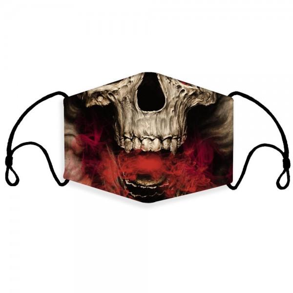Stoffmaske Totenkopf-Vampir mit Filter