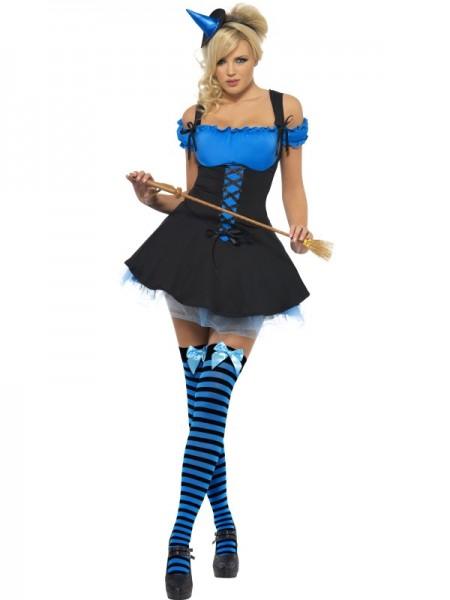 Sexy Hexenkostüm, blau/schwarz, Grösse M