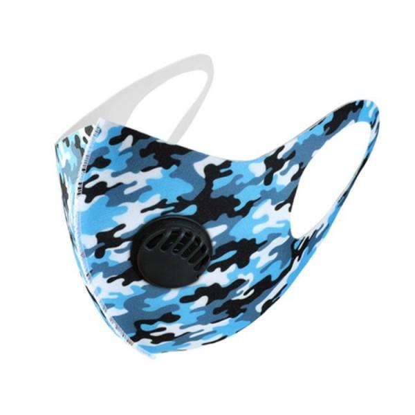 Stoffmaske Camouflage, schwarz-blau-weiss, ohne Filter, mit Ventil