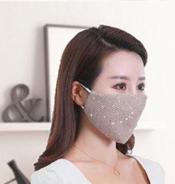 Stoffmaske mit Pailletten beige, mit Filter