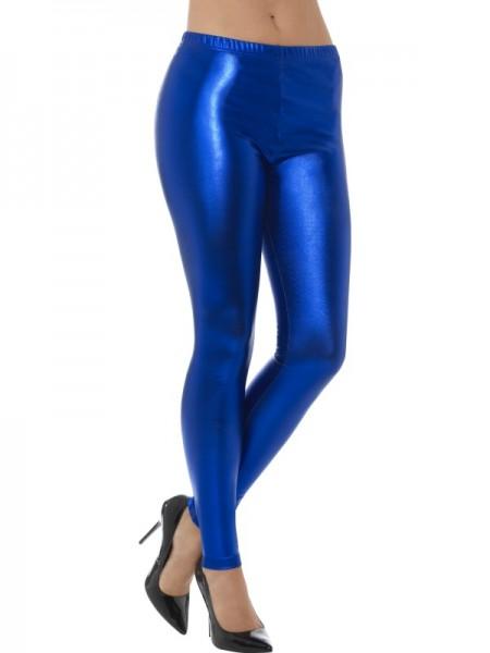 80er Metallic Disco Leggings, blau