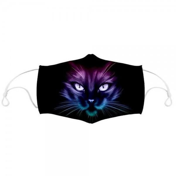 Stoffmaske Katze in Dunkelheit, mit Filter