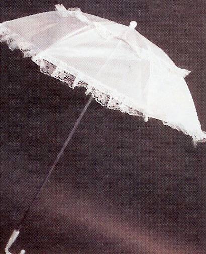 Stoffschirm, weiss, ca. 65 cm Durchmesser, ca. 80 cm lang