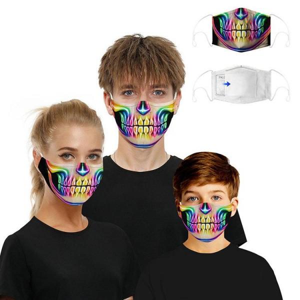 Stoffmaske Skelett, neon mit Filter