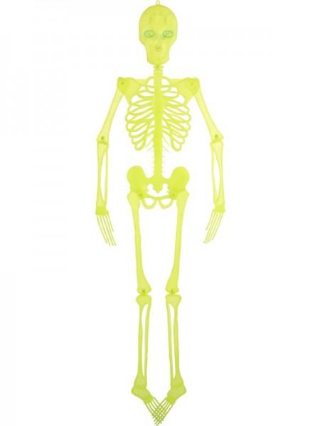 Deko Skelett, neonfarben, 150 cm, beleuchtete Augen