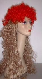 Party-Perücke Sandra blond/rot