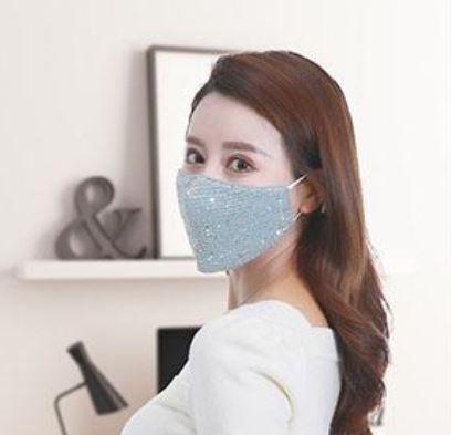 Stoffmaske mit Pailletten hellblau, mit Filter