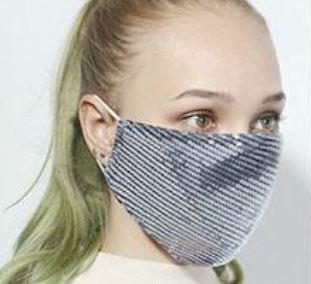 Stoffmaske mit Pailletten silber, mit Filter