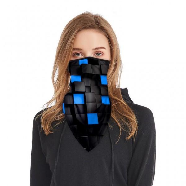 Schlauchmaske aus Stoff mit 3D Würfel, Farbe schwarz-blau, ohne Filter