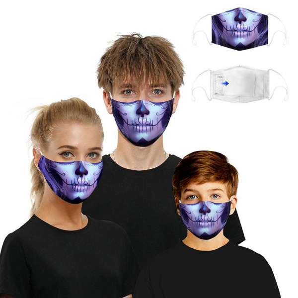 Stoffmaske Day of the Dead violett mit Filter
