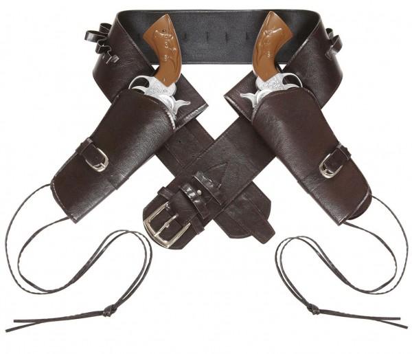 Western Pistolenhalter, doppelt aus Kunstleder, braun