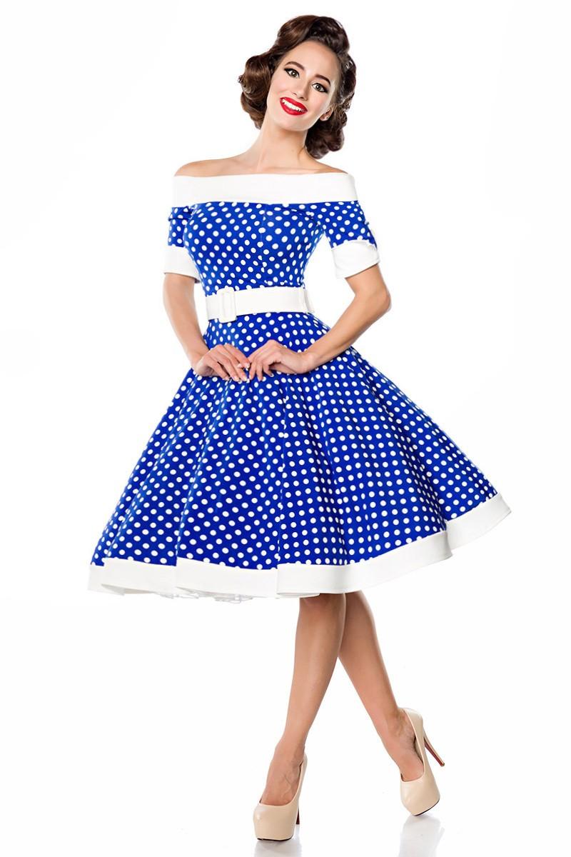 damenkostüm schulterfreies swing kleid blau/weiss gepunktet