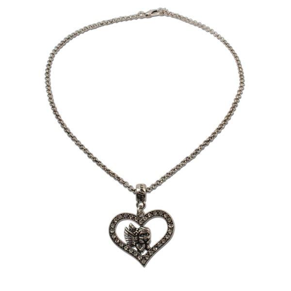 Halskette mit Strassherz-Engel