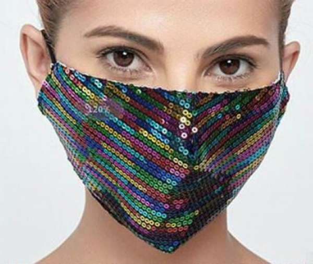 Stoffmaske mit Pailletten regenbogen, mit Filter