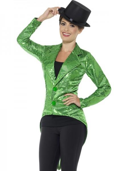 Pailletten Damen Frack, grün