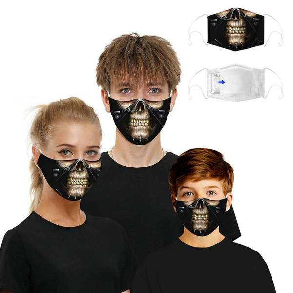 Stoffmaske Pierced Skull Face mit Filter