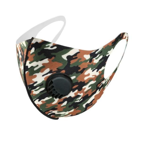 Stoffmaske Camouflage, schwarz-grün-braun, ohne Filter, mit Ventil