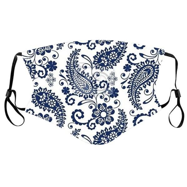 Stoffmaske mit Paisleymusterung dunkelblau-weiss, mit Filter