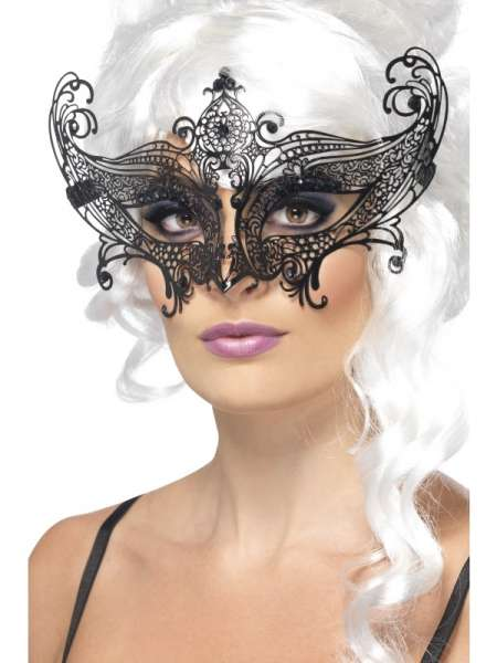 Augenmaske schwarz, Metall, Farfalla
