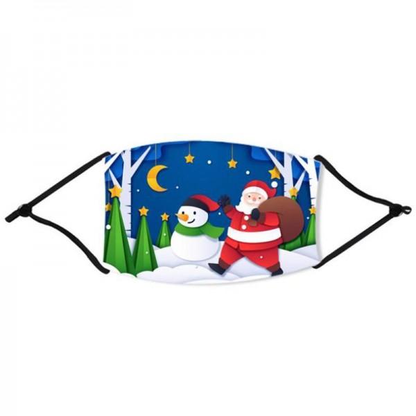 Stoffmaske fröhlicher Weihnachtsmann mit Begleitung, mit Filter