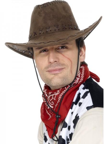 Cowboy Hut, Wildlederoptik, braun
