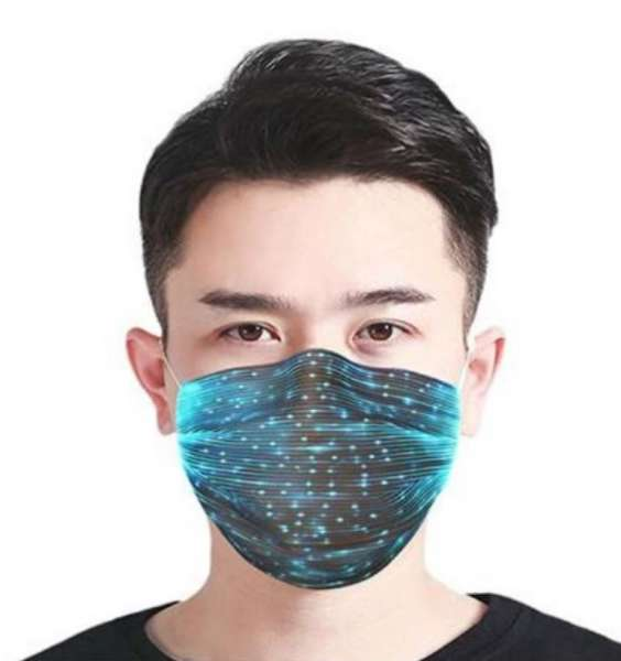 Stoffmaske schwarz mit LED Beleuchtung