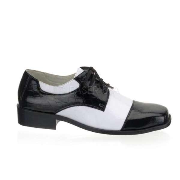 Gangster-Schuhe für Herren, schwarz/weiss
