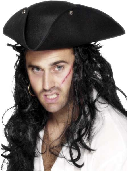Piratenhut, Dreispitz, schwarz