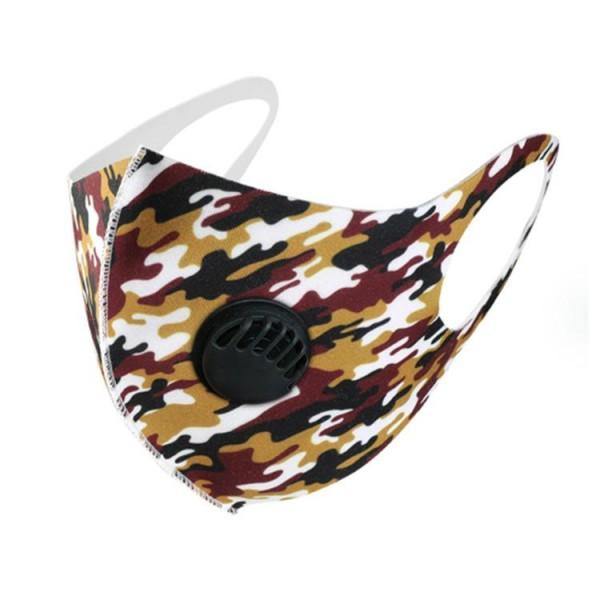 Stoffmaske Camouflage, schwarz-gelb-rot, ohne Filter, mit Ventil