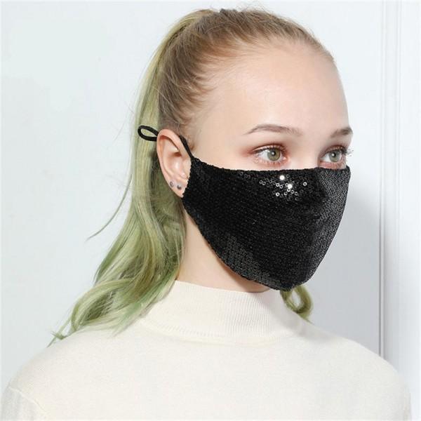 Stoffmaske mit Pailletten schwarz, mit Filter