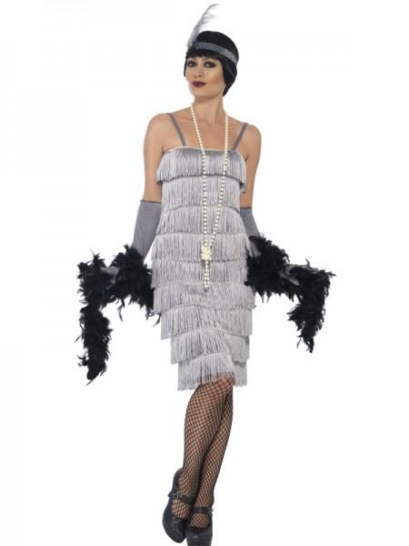 Fransenkleid silber, mit langem Kleid