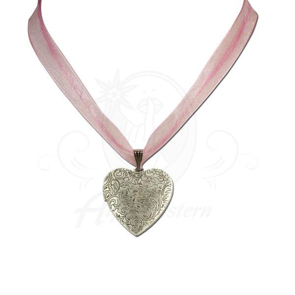 Organza-Halskette Amulettherz, rosé