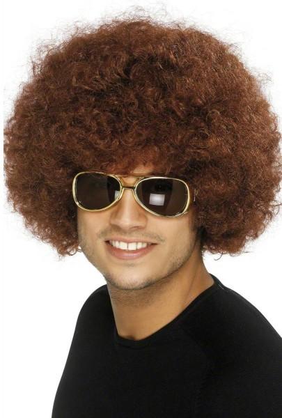 70er Funky Afro Perücke, braun