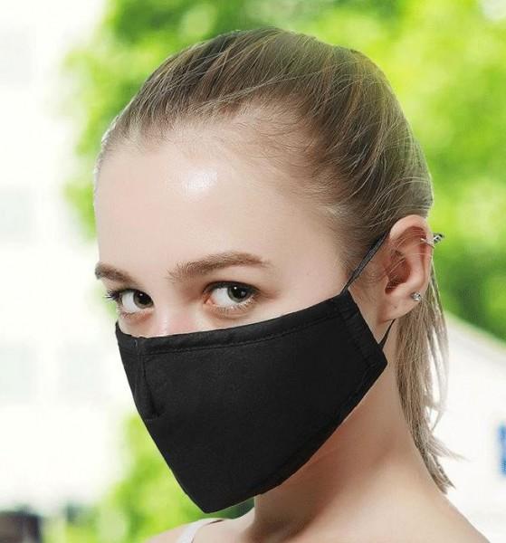 Stoffmaske schwarz mit Nasenbügel, mit Filter
