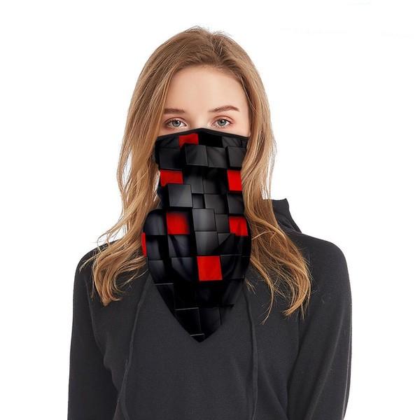 Schlauchmaske aus Stoff mit 3D Würfel, Farbe schwarz-rot, ohne Filter
