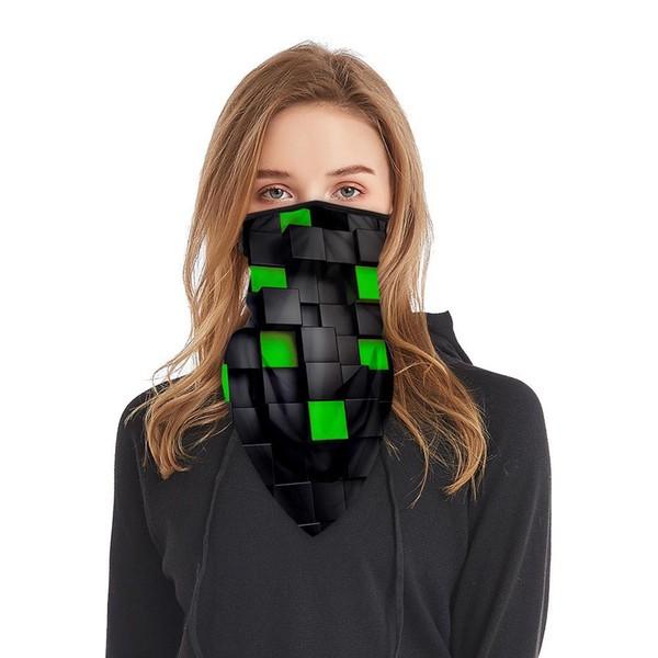Schlauchmaske aus Stoff mit 3D Würfel, Farbe schwarz-grün, ohne Filter