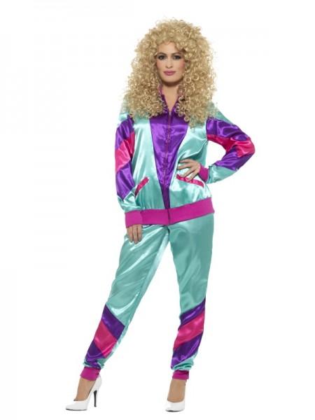 80er Trainingsanzug, hellblau pink