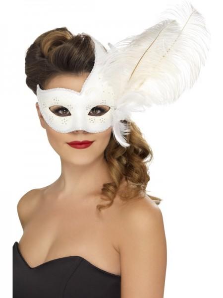 Augenmaske weiss mit Federn