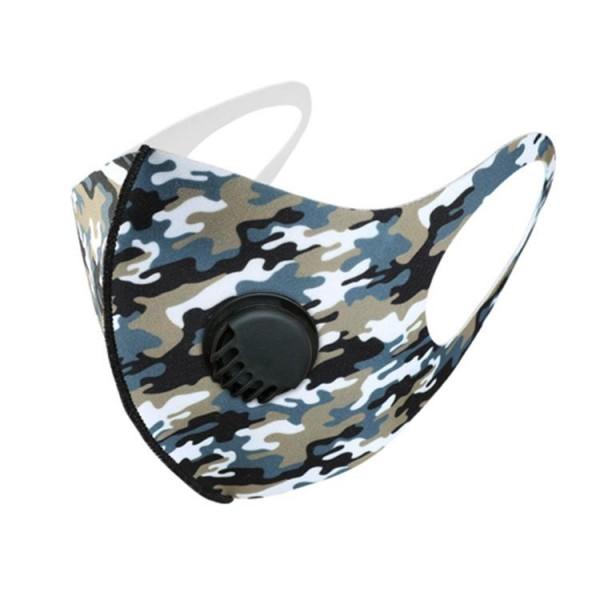 Stoffmaske Camouflage, schwarz-beige-blau, ohne Filter, mit Ventil