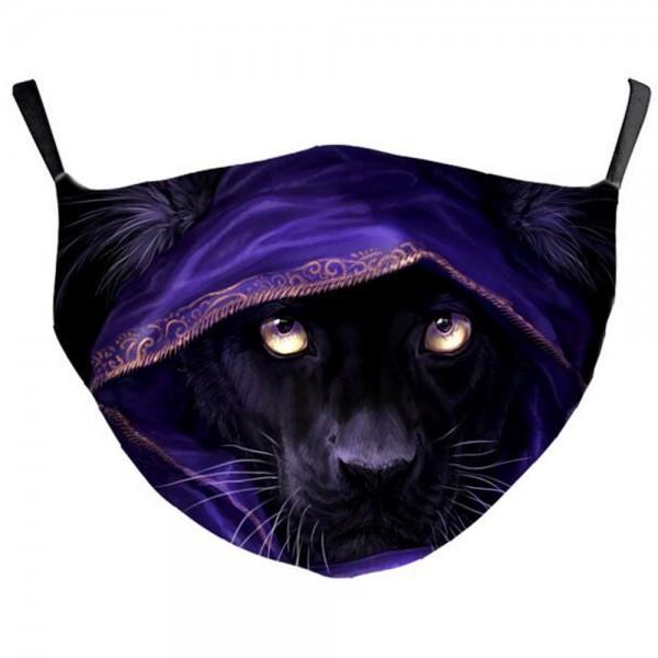 Stoffmaske lauernder, schwarzer Panther, mit Filter